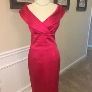 K UNGER DRK PINK/RED SHAWL COLLAR DRESS SZ 12